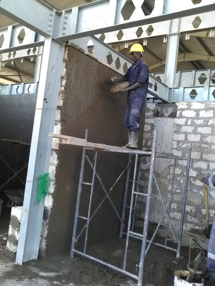 Plastering and masonry walls in progress